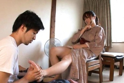 Miyuki matsushita asian give suck shlong after having feet massaged. Miyuki Matsushita Asian blow shlong after having feet massaged